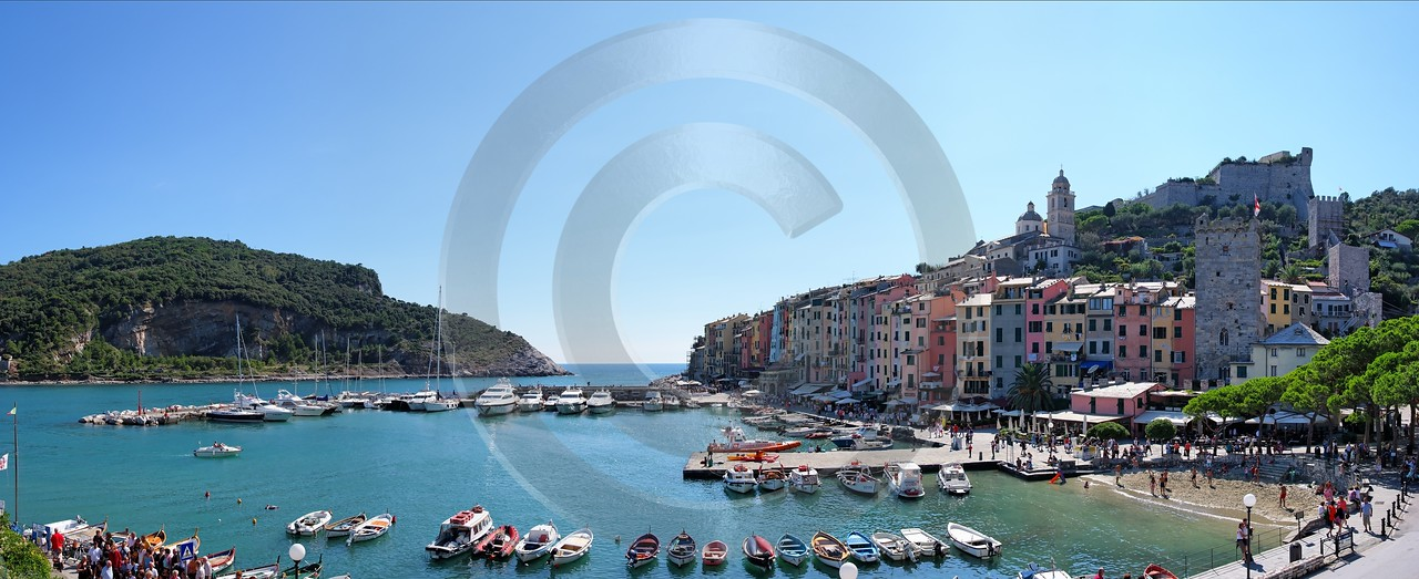 Portovenere Liguria Port Yacht Boat Ship Houses Ocean Ice Fine Art Prints Royalty Free Stock Images - 002310 - 23-08-2007 - 10576x4320 Pixel