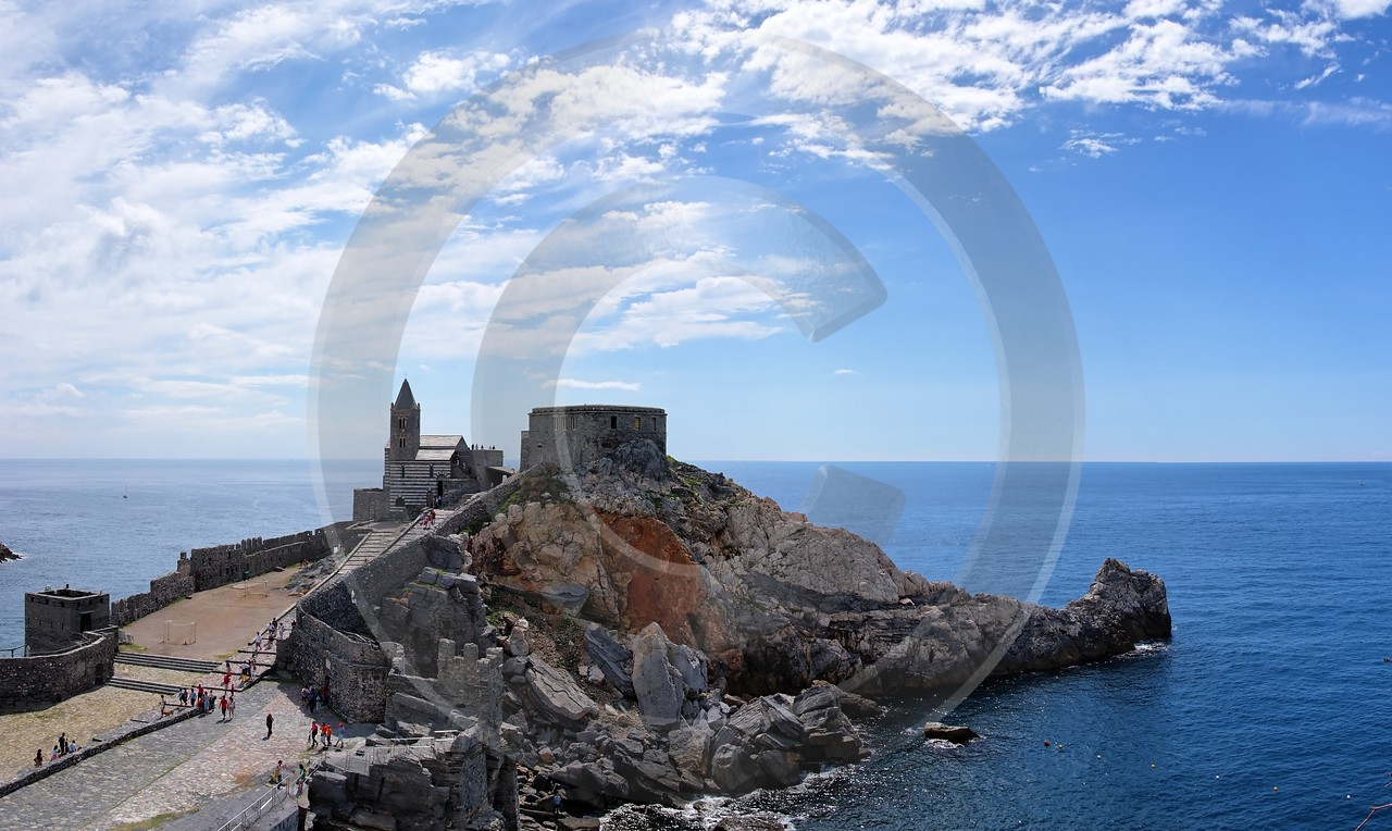 Portovenere Liguria Port Yacht Boat Ship Houses Ocean Stock Panoramic Art Printing Fine Art Printer - 002293 - 23-08-2007 - 6724x4014 Pixel