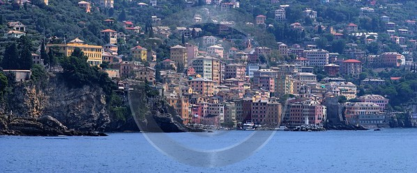 Recco Liguria Genua Ocean Houses Clif Beach Sky Fine Art Photography Prints Photo Prints - 002347 - 24-08-2007 - 10202x4241 Pixel