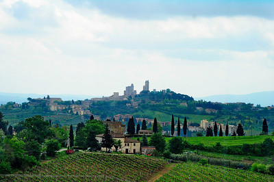 San Gimignano on the hill.  It is known as the village of towers.