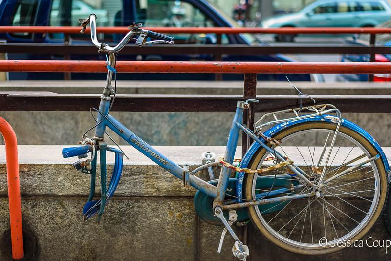 Blue Bike at Train Station