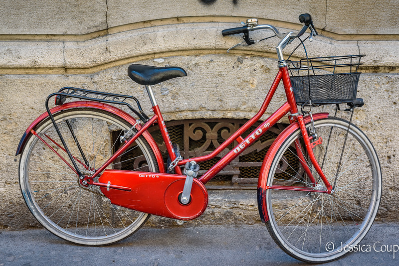 Red Bike with Black Basket