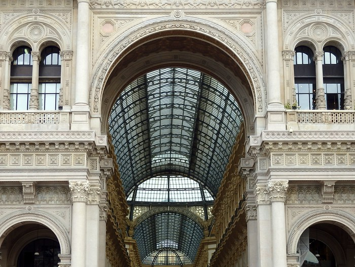 Views of the architecture of the impressive Galleria in Milan, Italy