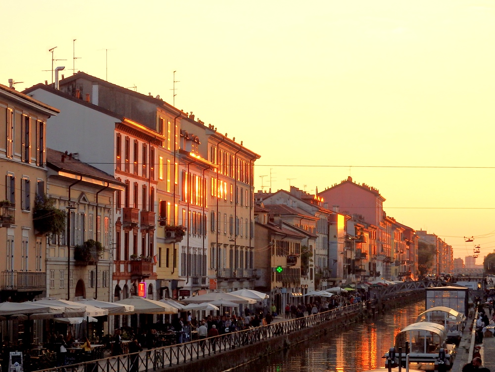 Navigli district home to some of the best Aperitivo in Milan, Italy