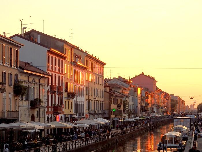 Sunset dining views along Navigli District in Milan, Italy