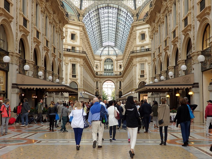Crowds shopping at Galleria Vittorio Emanuele II in Milan, Italy