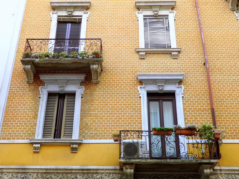 Balconies in Milan, Italy