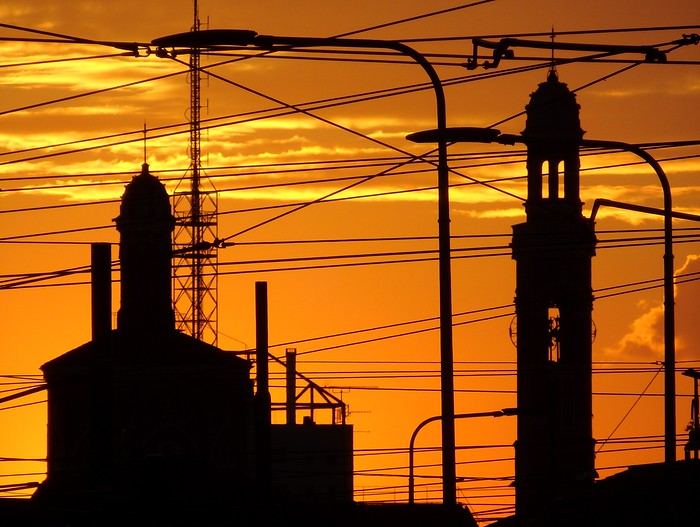 Sunset silhouette views of the city of Milan, Italy