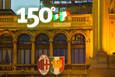 Milan celebrating Italy's 150 years as a country.