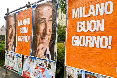 Leftist party celebrating their Milan mayoral victory