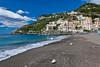 The beach in the Amalfi coast town of Minori, Italy.