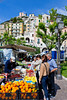 A fresh produce market in the Amalfi coast town of Minori, Italy.
