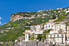 A terraced mountainside above the Amalfi coast town of Minori, Italy.