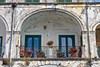 A rustic balcony in the Amalfi coast town of Minori, Italy.