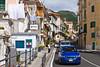 A street scene in the Amalfi coast town of Minori, Italy.