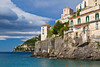 View of the coastline from the Amalfi coast town of Minori, Italy.