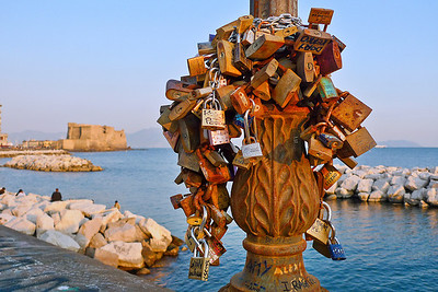 Lungomare.......example of Italian custom where locks are placed by lovers in public areas