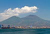Gulf of Naples and Mount Vesuvius from Naples, Italy.