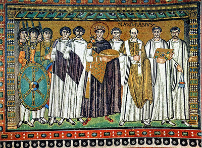 Ravenna - Basilica di San Vitale. Ru;ning the show on earth is Justinian, sporting both a halo and a crown to indicate that he's both leader of the Church and the state.