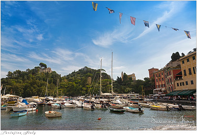 Castello Brown above the harbor of Portofino, Italy.