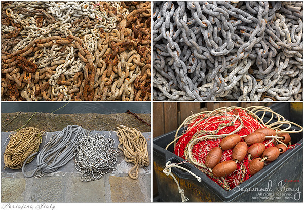 Ropes, old rusty chains and floats