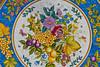 Ceramic table detail at the Casola Ceramics shop near Praiano, Italy.