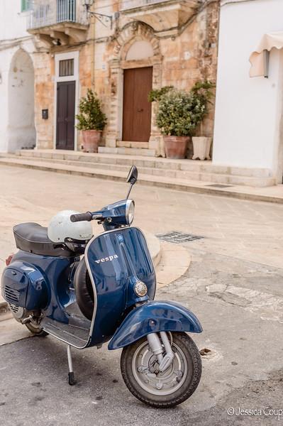 Blue Vespa in Cisternino