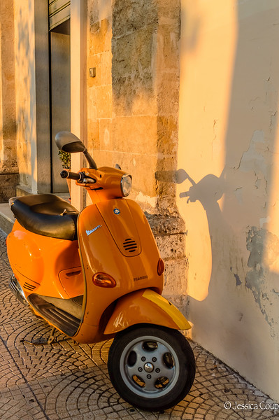 Orange Vespa at Sunset