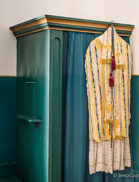 Vestments Hanging on the Confessional