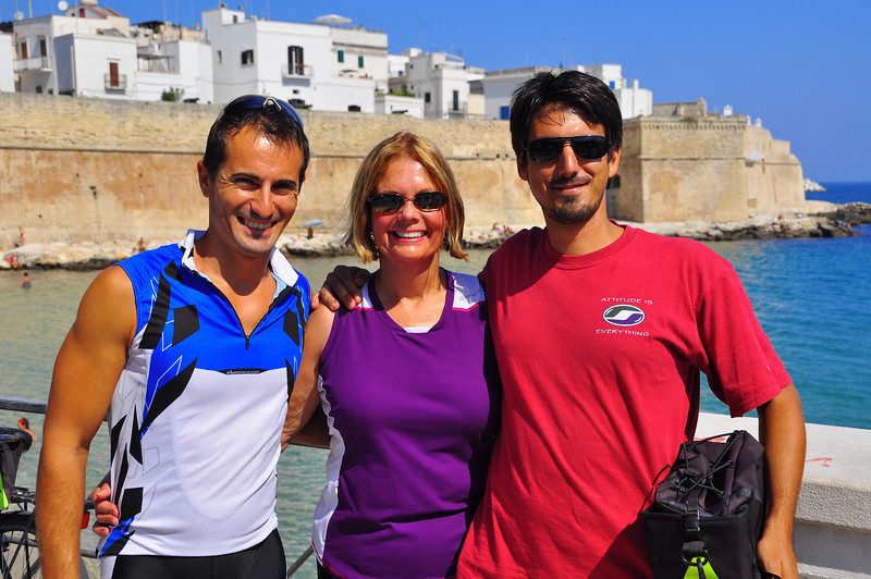 Sue and her boys, Giuiiano and Eduardo, in Monopoli