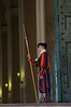 A Pontifical Swiss Guard on the steps of St. Peter's Basilica