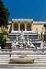 Roman architecture at the Popolo Square in Rome, Italy.