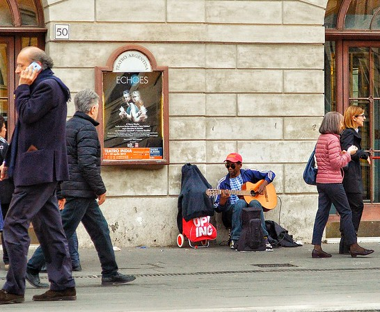 """""""Beautiful Echoes - Bellissimi Echi"""" - Largo di Torre Argentina - Roma -                                                                 Roma's streets are filled with wonderful sounds of talented musicians. It's nice sometimes to just stop for awhile and enjoy!"""