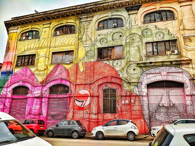 """""""Perchè no?"""" - If you're going to spend the time and money to paint, you might as well make a statement! - Via delle Conce - Roma"""