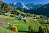 The Val di Funes Valley and village of Santa Maddalena with views of the Dolomites, South Tyrol, Italy, Europe.