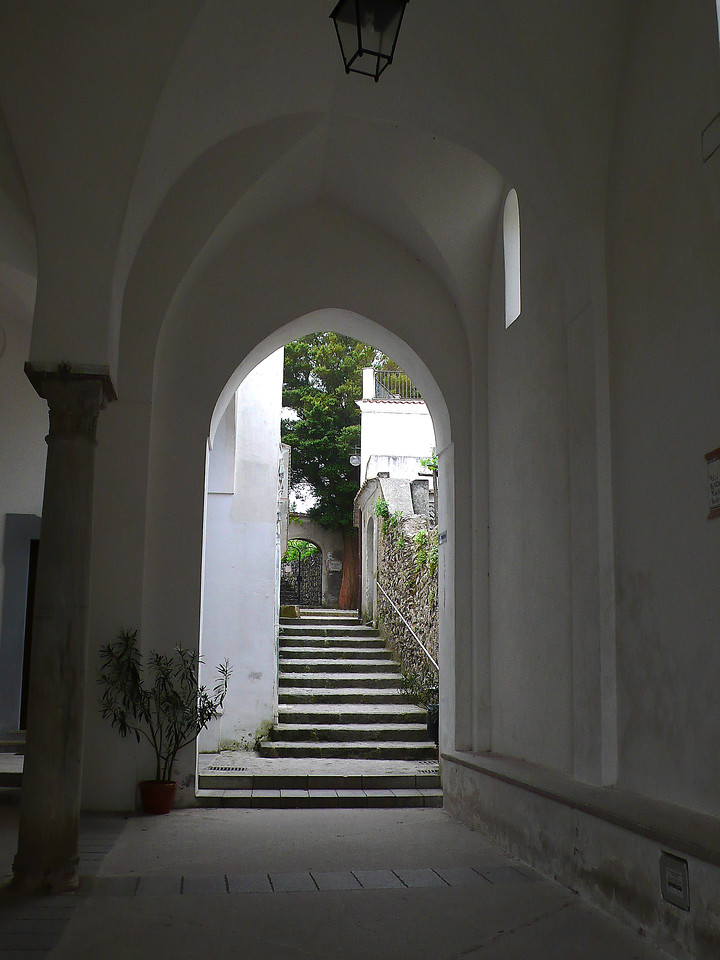 White archway and steps