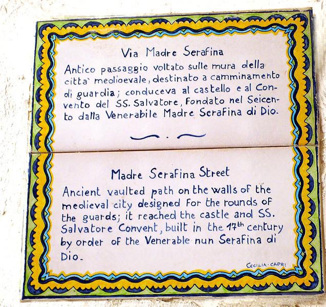 Madre Serafina Street plaque