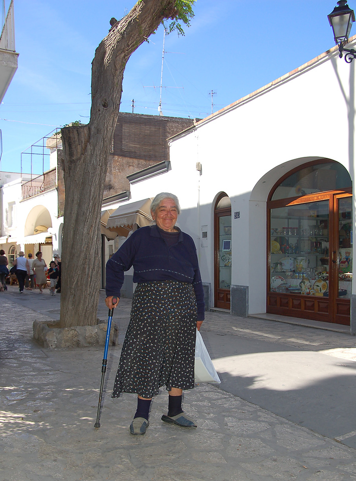 Woman on street in Capri