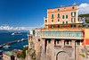 The town of Sorrento and the Bay of Naples in Sorrento, Campania, Italy.