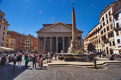Pantheon fountain and facade