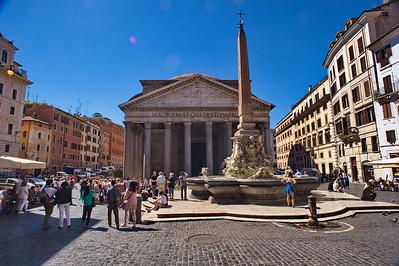Pantheon fountain and facade