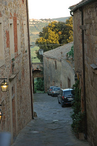 Looking south from the La Costa Hotel.  Via Coppoli, the Triano gate and Montepulcialo in the distance.