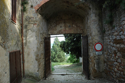 The Porta del Triano gate. Originally there were three gates to the town. Only two remain. This is at the end of Via Coppoli.