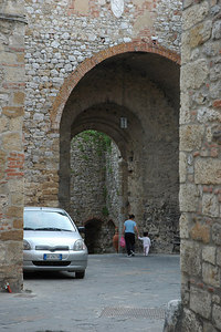 "Entering Montefollonico thru the main gate, the ""Porta del Pianello"", a wonderful example of 14th century fortified stone walls."