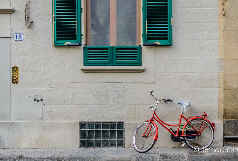 Green Shutters Red Bike