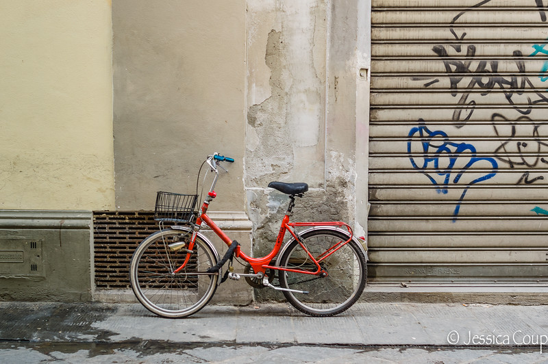 Red Bike with Graffiti