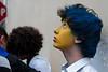 Young fan in the blue and yellow colours of the Arezzo quarter, Porta Santo Spirito