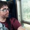 Yann on the train back to Perugia, exhausted after a long day of Florence sight-seeing