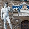 A replica of Michelangelo's David outside the Uffizi Museum