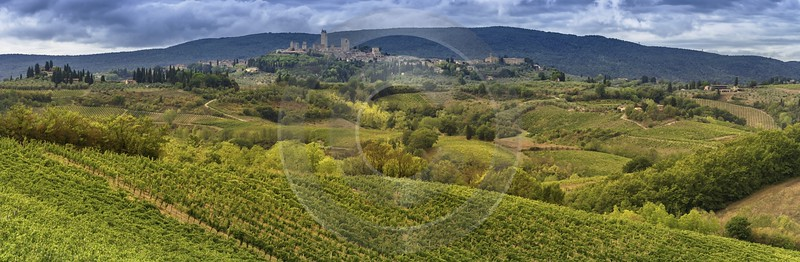 Montefalconi Tuscany Winery Panoramic Viepoint Lookout Hill Autumn Fine Art Photography For Sale - 022778 - 16-09-2017 - 23302x7626 Pixel